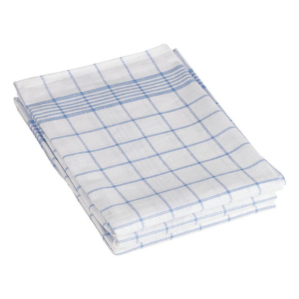 Geschirrtuch Halbleinen blau/weiß