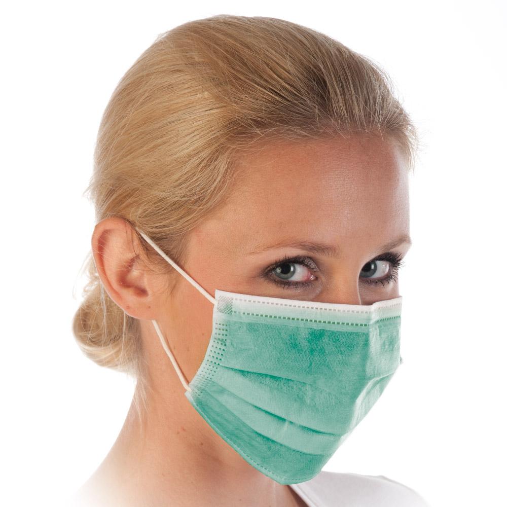 Mundschutz 3-lagig grün, blau, weiß, gelb oder rosa